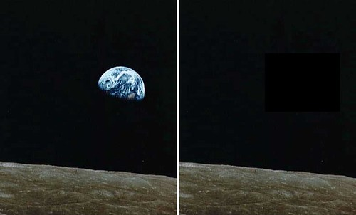 Earthrise - with and without the Earth