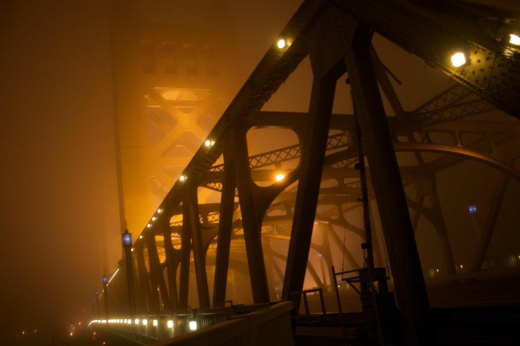 Tower bridge in heavy fog