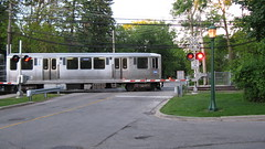 Southbound CTA purple line train departing from the Linden Avenue terminal. Wilmette Illinois. Early June 2009.