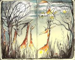 dreams don't always make sense --- my entry - Racheal's book (Jennifer Kraska) Tags: moleskine jennifer dreams giraffes kraska soulart moleskineexchange