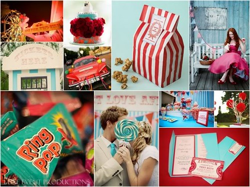 Luxe Style Wedding Inspiration Board Carnival Love Teal Red White