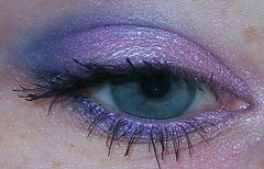 Pink, purple and blue eye look