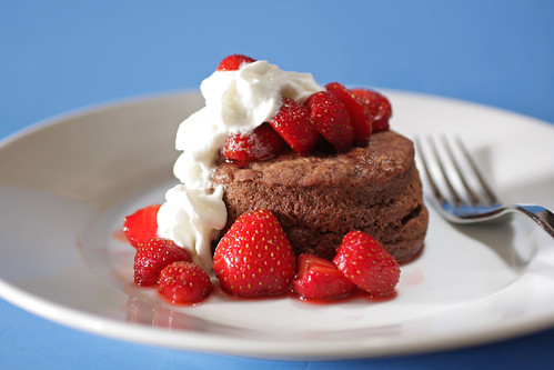 chocolate shortcake with strawberries