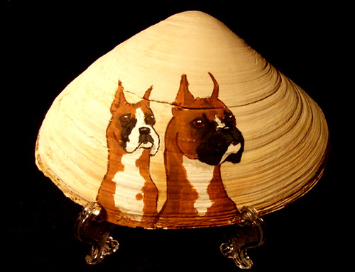 Pair of Boxers painted on a shell