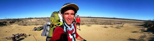 Rob with cyclists near Dryden, Texas, USA