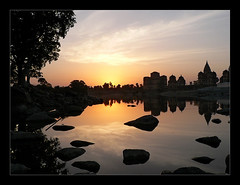 Good Evening Orchha (angshu0105) Tags: sunset india reflection water stone river asia orchha cenotaphs betwa