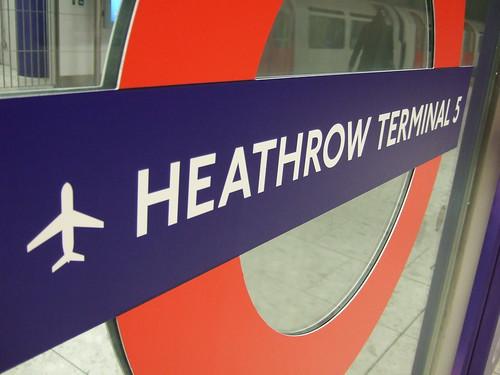 Heathrow Terminal 5 tube station sign by James Cridland.