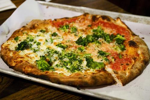 broccoli and garlic, half white half red