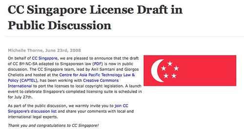 CC Singapore License Draft in Public Discussion - Creative Commons
