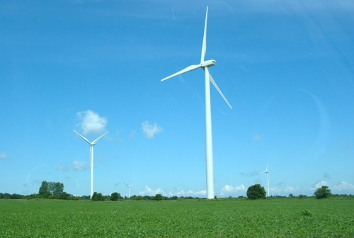 A few wind turbines
