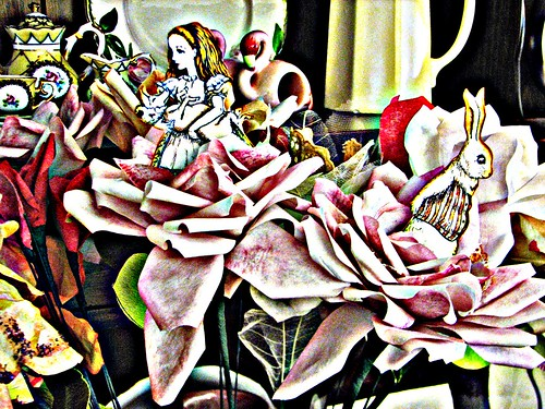 Alice & White Rabbit in Roses