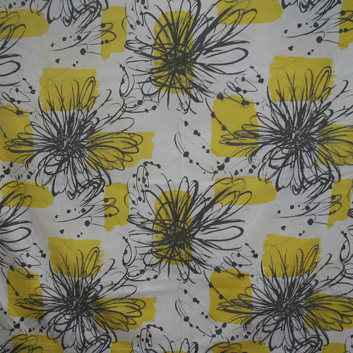 1950's Graphic Flower Vintage Fabric