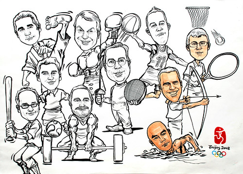 Group caricatures for Microsoft Australia Team ink outline progress
