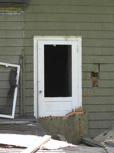 Board ripped off the back door