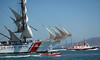USCG Barque Eagle escorted during SF Festival of Sail Parade