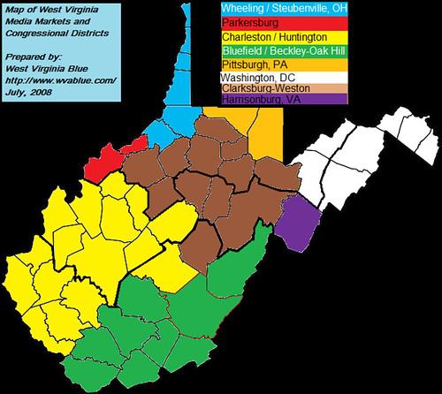 West Virginia Blue West Virginia Media Market Map With