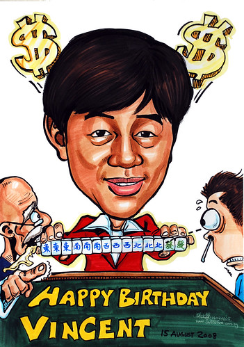 Caricature theme mahjong