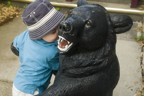 don't eat my child! (oh wait, that's my child giving the bear a smooch)