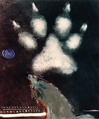 wolf paw for your deep walk (hialoakapua) Tags: travel santafe color art water painting wolf paint image spirit joy journal passion oil myart healing shaman monotype wellness shamanism 2dart hialoakapua aumakua ghostprint rosslewallen wwwrosslewallencom