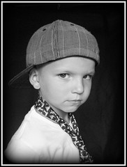 cody (Casey Keith) Tags: boy portrait blackandwhite hat kid tie headshot