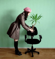 (JenniPenni) Tags: selfportrait plant colors chair right trenchcoat 365 bizarre planting startofanewlife buyitfromashop modernplanting neverdoityourself