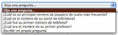 desplegable pregunta de seguridad en Google
