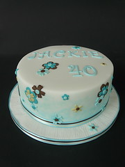 40th Birthday Cake ...... (abbietabbie) Tags: brown white cake aqua cream explore birthdaycake icing marzipan 40 fondant stippling