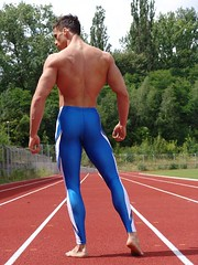 run (hagerstenguy) Tags: blue man men tights strong runner lycra  athlet atlet