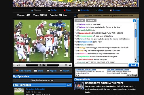 Social TV: Rebroadcasting football game on Justin.tv