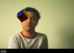 Flying Cube (Kyaw Photography) Tags: me canon myself eos rebel 50mm flying raw single cube rubiks xsi 450d ultimateshot