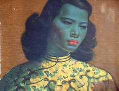 Jade Woman (justiNYC) Tags: woman green face lady vintage painting asian ancient chinese jade
