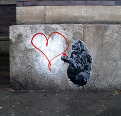 gorilla/heart (l.e.t.) Tags: street streetart pasteup art love graffiti stencil sticker chimp contemporary kunst wheatpaste popart silkscreen ape let woostercollective