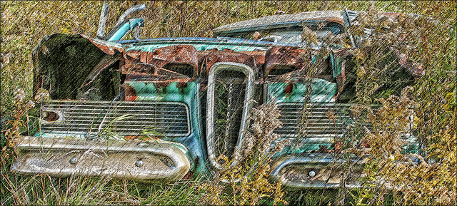 bbarber bbarber1 billbarber wdwbarber streetsville ontario canada peel region mississauga canonxti photoshopelements green cream white grille nameplate rust rusty chrome derelict abandoned bedraggled brokendown decrepit wreck wrecked ruin ruined destroyed broken smash smashed crushed demolished field grass farm motor thanksgiving car automobile gasguzzler hardtop heap fourdoor sedan luxury heavyduty power energy v8 ford edsel lemon stinker bomb disaster mistake blunder blooper bungle folly miscalculation boner screwup foulup snafu cockup pile junk junker salvage scrap metal