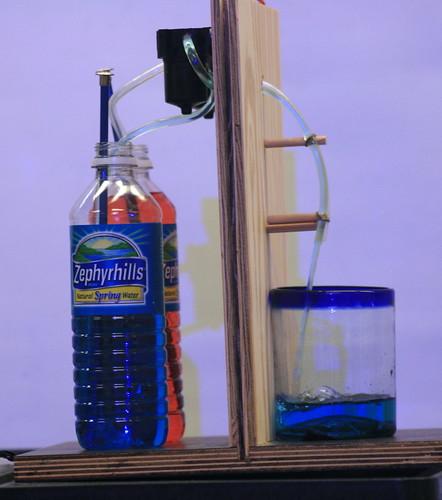 Dispensing some blue fluid