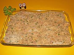 Pollo pamesano-fuente crudo