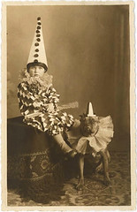 boy and dog pierrots (carbonated) Tags: bw halloween vintage photographs