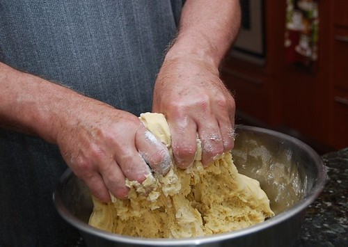 Dad's mixing the pizzelle dough