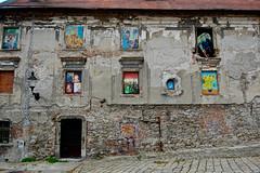 Van Gogh in Bratislava (marin.tomic) Tags: old city travel urban house color brick art window facade nikon europe decay slovakia bratislava vangogh slowakei pressburg d40
