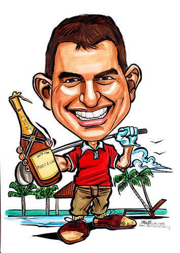 golfer caricature with chanpagne at Bali