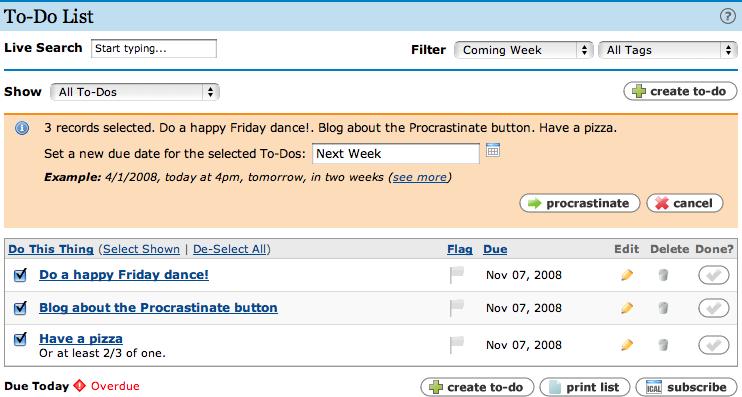 Procrastinate Button - after click