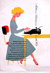 new look (allerleirau) Tags: typewriter illustration vintage ads graphicdesign office fifties graphic desk ad retro ephemera pelikan 50s secretary midcentury schreibmaschine sekretrin