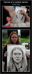 Portrait of a random person (Ben Heine) Tags: portrait woman eye girl look paper fun person child serious random head drawing grain professional event fairy putte laugh second caricature antwerp moment fte tuning fille glance foire tte realism regard beurs flanders lambda immortality ralisme mtier artfestival vlanderen amusant depict bodyspraypainting