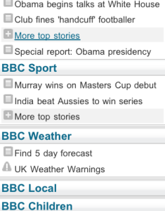 BBC Mobile menu
