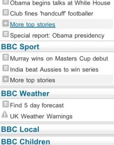 BBC Mobile menu