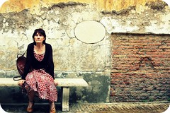 It is well, with my soul (ingephotography) Tags: old italy woman brown white rome roma wall bench italian italia bank wit oud vrouw italie bruin muur bankje engelenburcht italiaanse