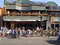 cruise99ens57 Senor Frog's Bar, Ensenada Mexico 1999 (CanadaGood) Tags: cruise blue people color colour building mxico bar mexico person 1999 mexican bajacalifornia ensenada streetphoto nineties senorfrogs canadagood