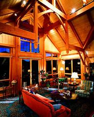 timberframe inside livingroom