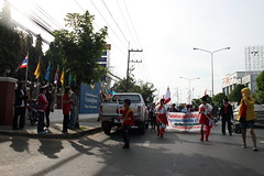 Marchers at school entrance