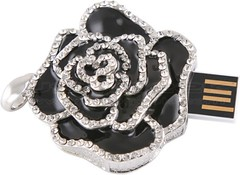 Black Rose USB Drive Necklace