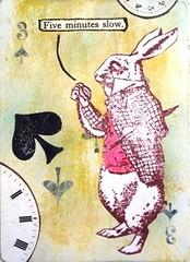 Five minutes slow (Katjamillam) Tags: atc collage acrylic stamping apc aliceinwonderland